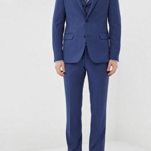 Мужской костюм тройка однотонный синий.