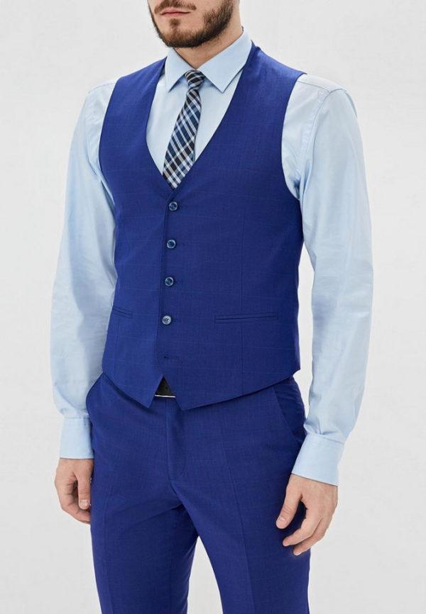 Мужской костюм синий тройка.