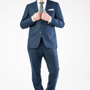 Мужской костюм в полоску темно-синий.