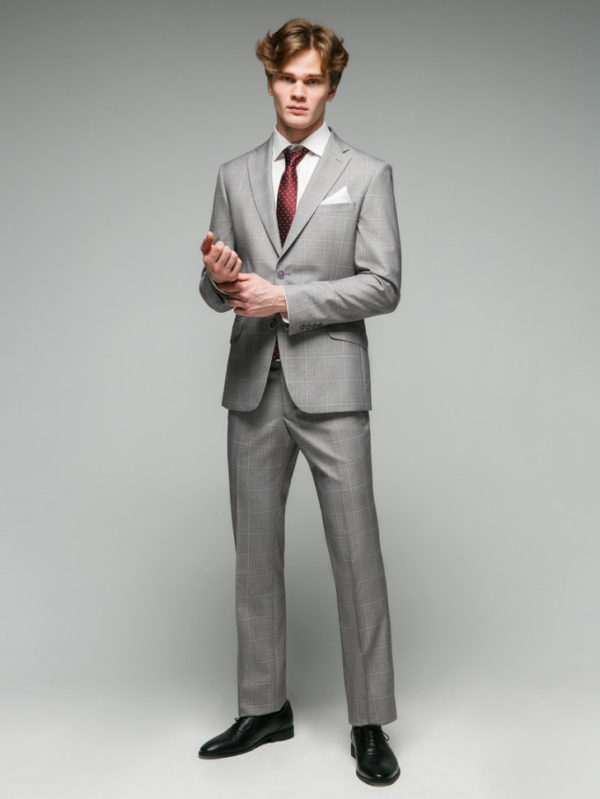 Jenkin Мужской костюм серый в клетку.