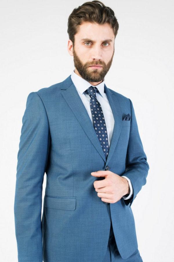 Мужской офисный костюм синий.